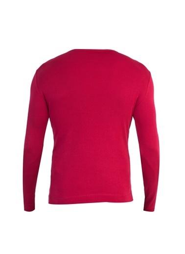 Kiğılı V Yaka Slim Fit Sweatshirt Kırmızı